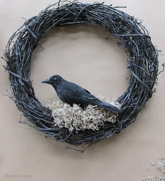 Black Flower And Crow Halloween Wreath: WS Inspired Crow Wreath Halloween Decorations