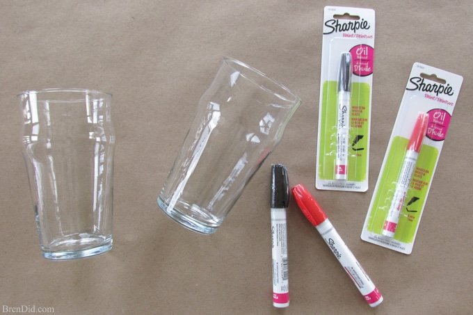 Diy craft project sharpie pint glass tutorial bren did for Paint pens for wood crafts