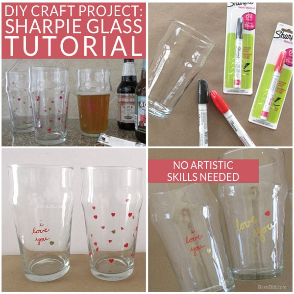 Sharpie Pint Glass Tutorial Diy Craft Project Bren Did