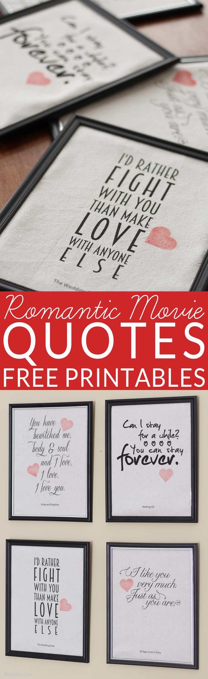Romantic Movie Quotes Valentine Printables