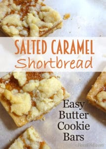 Salted Caramel Shortbread - this easy recipe makes a big batch of buttery, salted-caramel bar cookies perfect for Christmas or everyday.