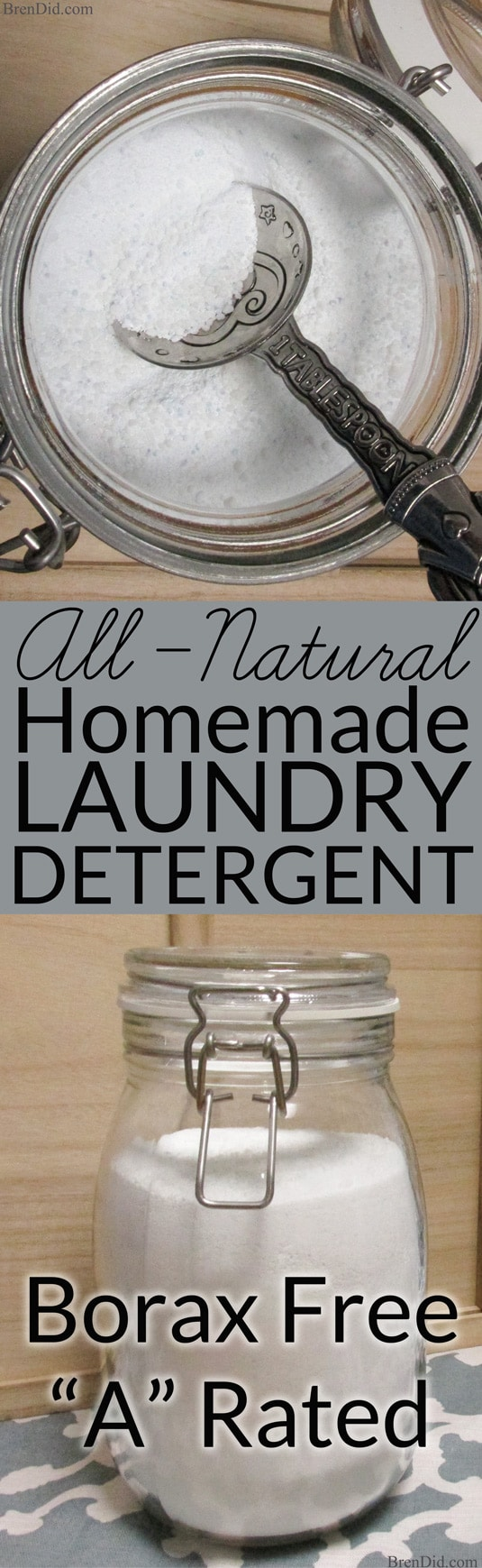 All natural, non-toxic laundry detergent with no borax. Recipe