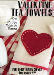 """Saying """"I love you!"""" doesn't have to cost a bundle this Valentine's Day. Impress your guests with this adorable little tea towel {Pottery Barn inspired} for only $0.79! Read the easy tutorial with free printable pattern at BrenDid.com. The easy craft uses premade flour sack towels and iron-on adhesive. The best part, at under $1 each you can afford to spread the Valentine love around the whole neighborhood! - See more at: https://brendid.com/pb-inspired-valentine-tea-towels/"""