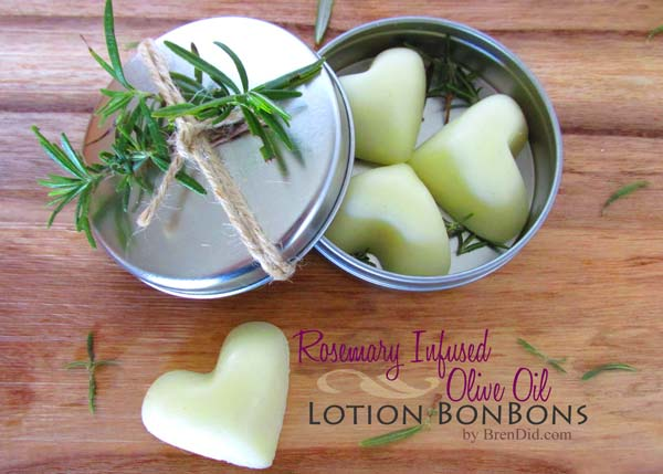 Rosemary Infused Olive Oil Lotion Bon Bons by BrenDid.com, Homemade Lotion Bars Recipe