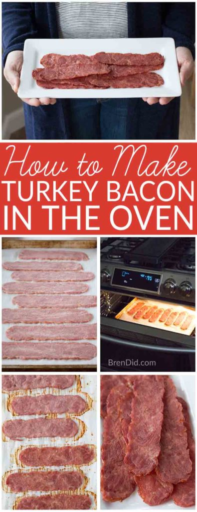 how to make turkey bacon in the oven collage