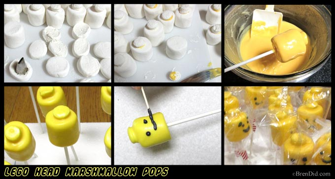 BrenDid Lego Head Marshmallow Pops
