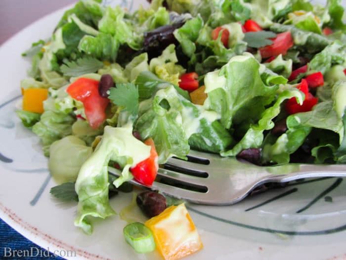 Southwest Salad with Creamy Avocado Dressing - All your favorite southwest flavors with a creamy, yet good-for-you dressing.