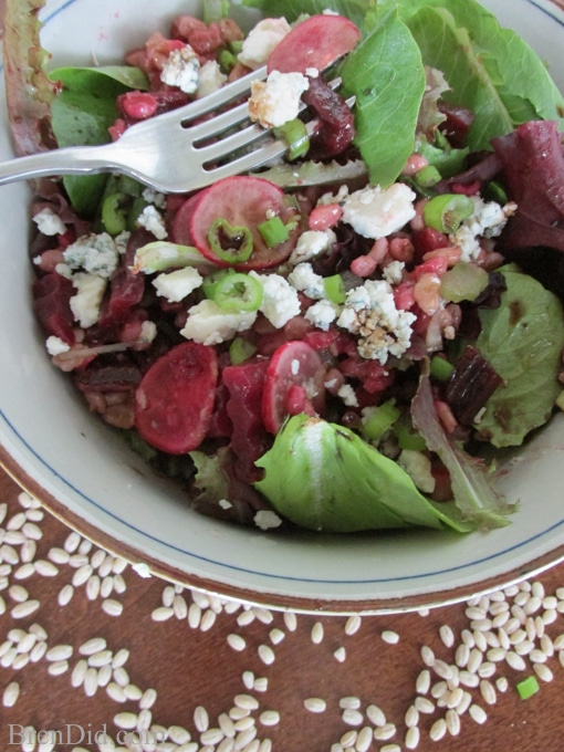 Barley and Beet Salad with Gorgonzola Cheese and Simple Balsamic Vinaigrette