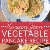 Korean Jeon traditional Vegetable Pancake with Spicy Dipping Sauce. Perfect for using up summer squash and zucchini. Great for kids. Easy recipe.
