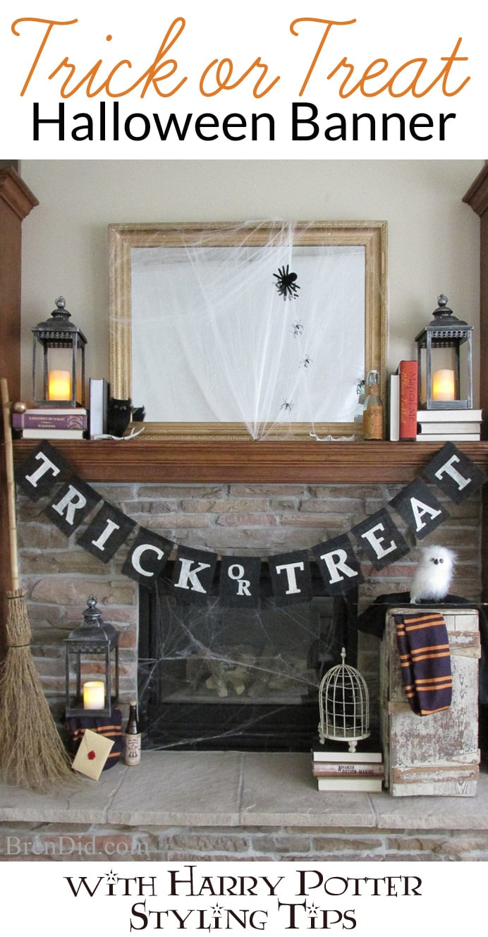 Trick or Treat Halloween Banner , inspired by Pottery Barn – This easy burlap banner with free printable pattern is an easy Halloween DIY that will compliment your Halloween decorations. Get the full tutorial at BrenDid.com. #Halloween #decor #DIY #Knockoff #banner #garland #HarryPotter