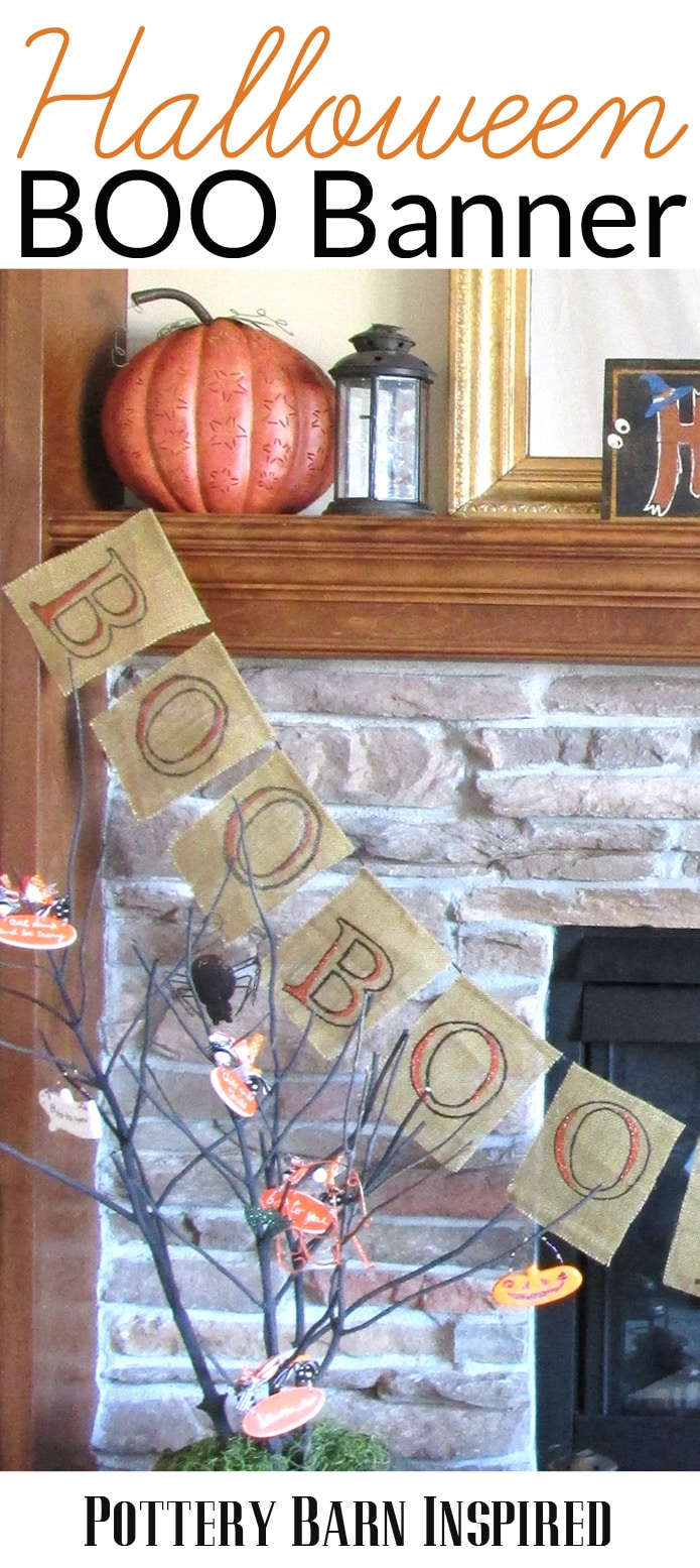 PB Inspired BOO Banner- Make this adorable burlap Halloween garland banner for only $4!