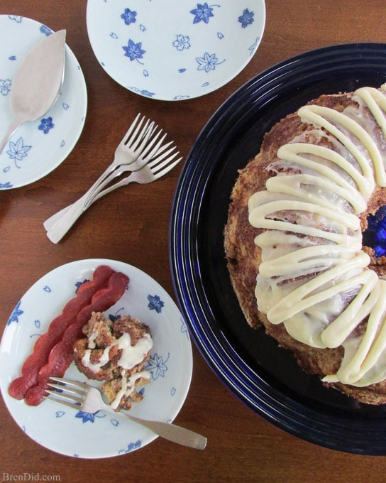 Healthier Apple Monkey bread photo with plates and forks