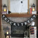 No Sew Burlap Trick or Treat Halloween Banner with Harry Potter Inspired Decorations