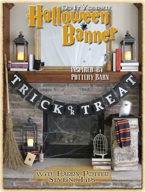 Pottery Barn Inspired Trick or Treat Banner Black and Harry Potter Decor, Trick or Treat Halloween Banner