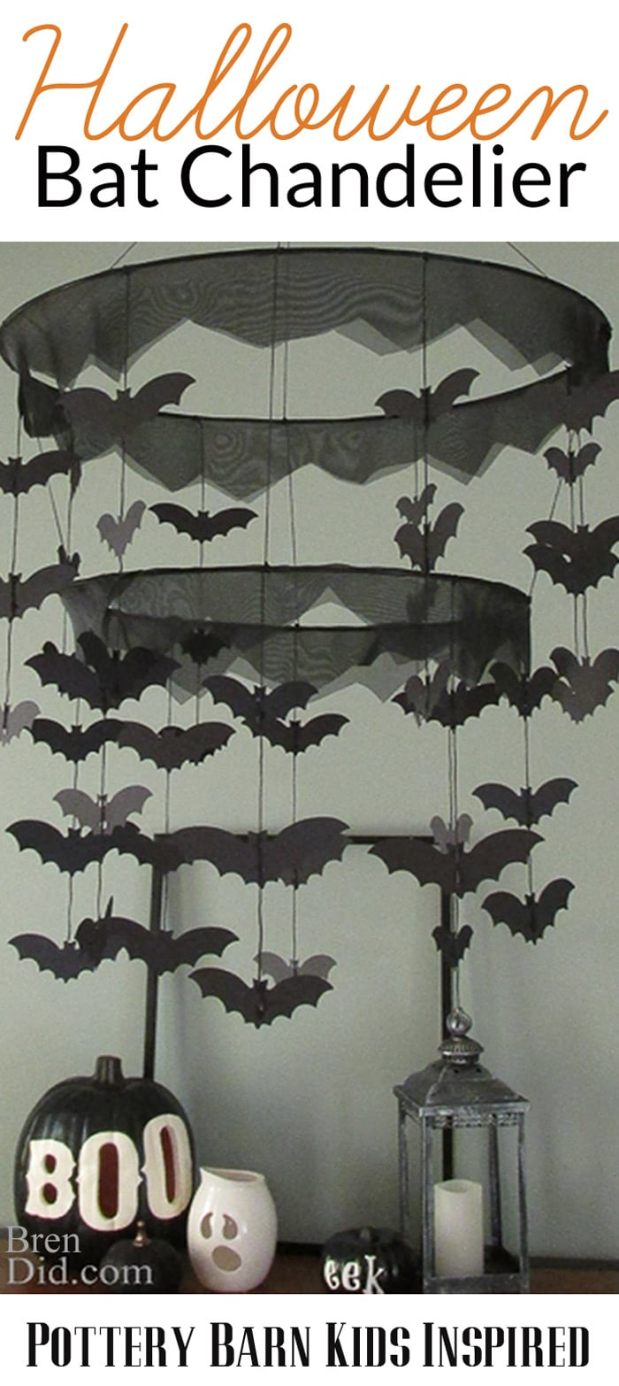 BrenDid Pottery Barn Kids Inspired Bat Chandelier- Easy DIY Halloween decor for less than half of PBK prices! #knockoffdecor #freeprintable