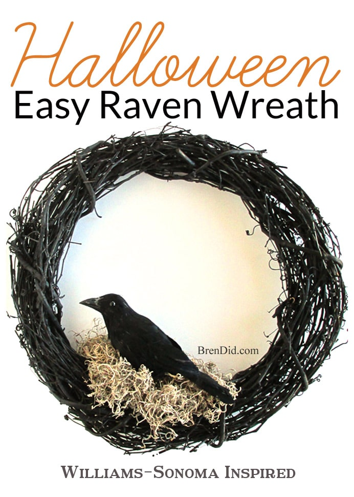 Williams Sonoma Inspired Halloween Crow Wreath - This easy Halloween wreath DIY will compliment your Halloween decorations. Get the full tutorial at BrenDid.com. #Halloween #decor #DIY #Knockoff #wreath #EdgarAllanPoe #Raven