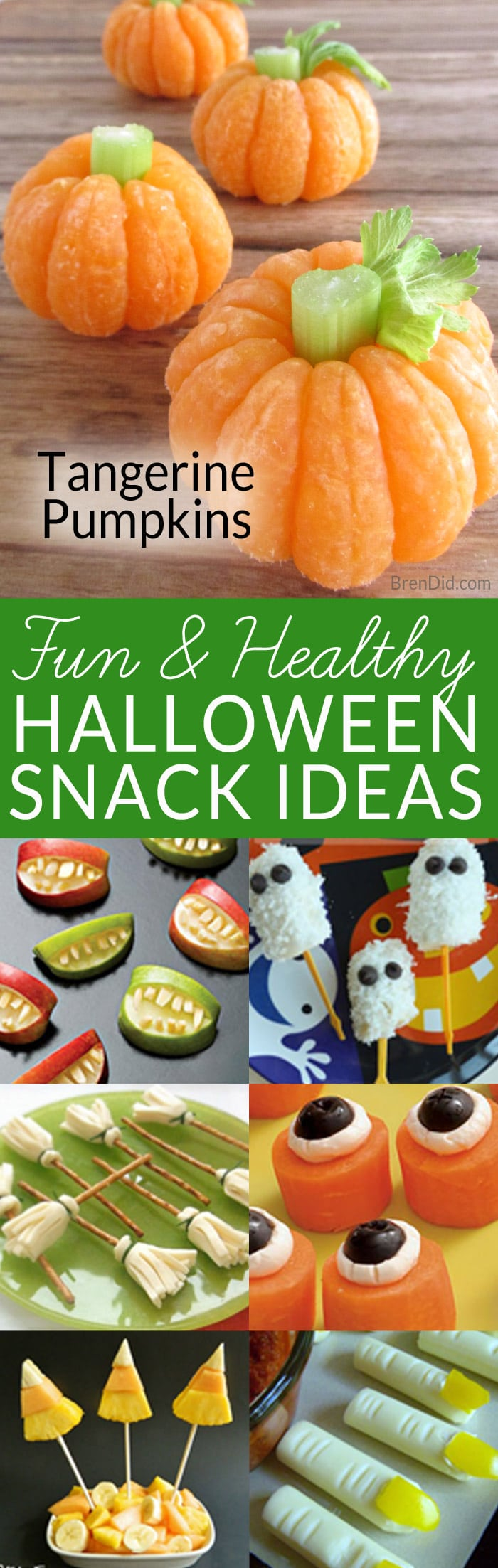 Sick of sugar at Halloween?  Kids love easy tangerine pumpkins or one of the other healthy Halloween treats. #Halloween #halloweentreats #healthykids #brendid