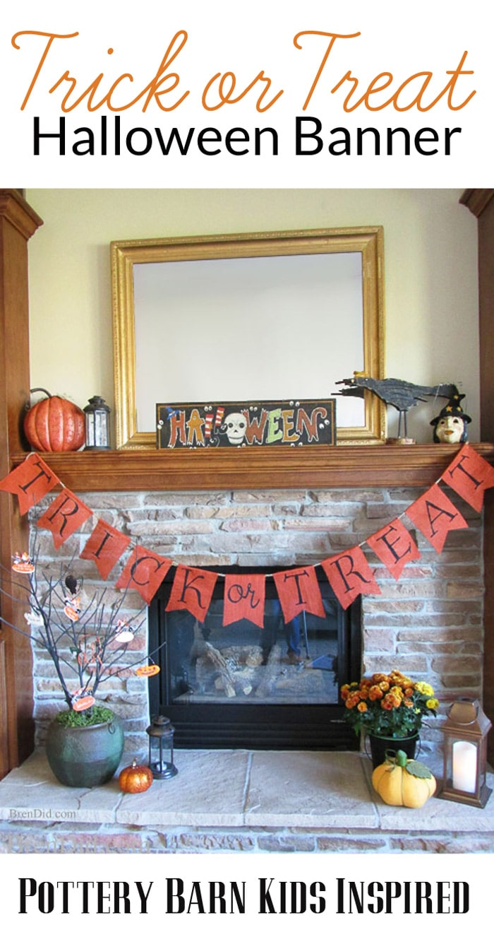 Trick or Treat Halloween Burlap Banner in black and orange inspired by Pottery Barn Kids – This easy burlap banner with free printable pattern is an easy Halloween DIY that will compliment your Halloween decorations. Get the full tutorial at BrenDid.com. #Halloween #decor #DIY #Knockoff #banner #garland