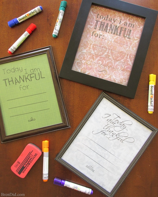 "BrenDid I Am Thankful Dry Erase Board DIY and Printable for Kids - Need Thanksgiving craft ideas? Make ""Thankful"" dry erase boards with free printable. They are a fun kids Thanksgiving craft that emphasize thankfulness."