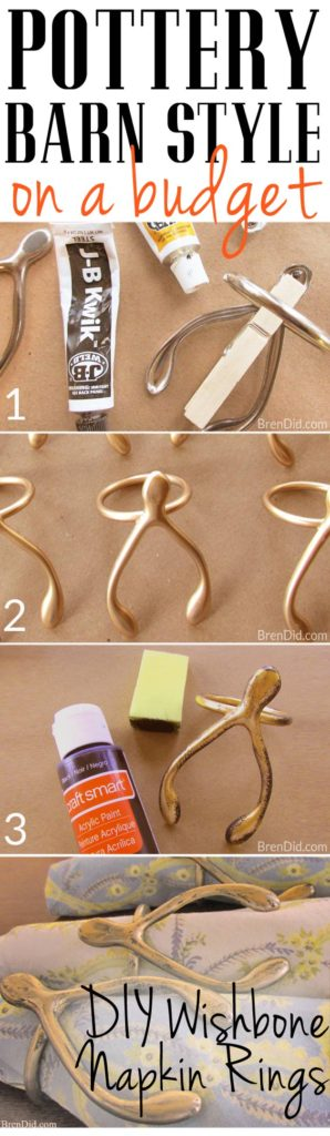 Pottery Barn Knock Off DIY Wishbone Napkin Rings - If you love high end style on a low end budget these gorgeous DIY Wishbone Napkin Rings are the perfect way to get the Pottery Barn look for less! DIY anyone can make.