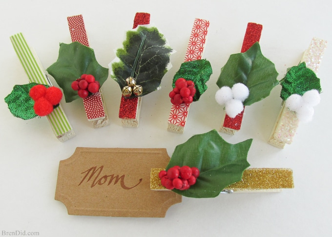 Clothespin Crafts Christmas Part - 48: Adorable Homemade Christmas Gift Tags From BrenDid.com.