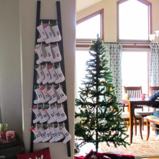 Easy and Affordable Christmas Decorations: PB inspired Wooden Advent Calendar with Stockings – Make a Pottery Barn Inspired Wooden Advent Calendar Ladder with Canvas Stockings f for $34. That's 83% off of the retail price of $199. Free printable pattern, Silhouette cut file and easy directions at BrenDid.com.