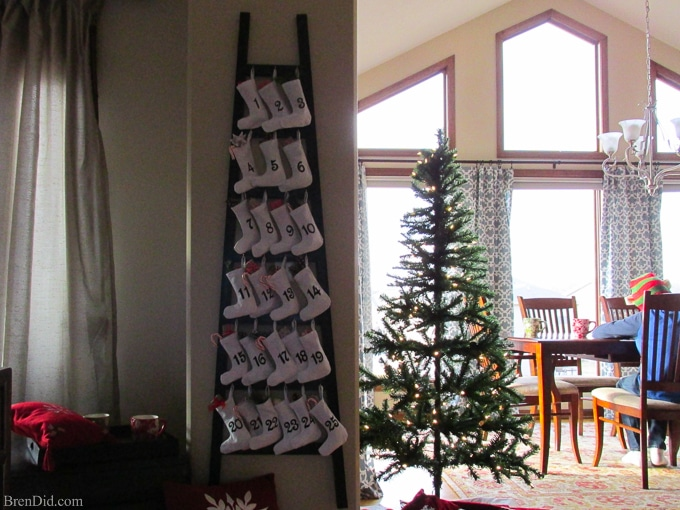 pinning to make for christmas easy and affordable christmas decorations pb inspired wooden advent - Christmas Ladder Decor