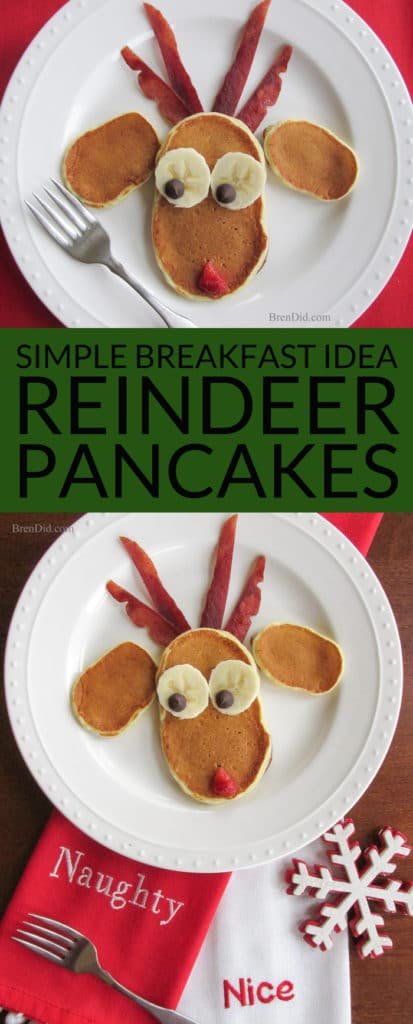Simple Breakfast Recipe: Reindeer Pancakes for Christmas Breakfast- This Christmas breakfast idea is easy to make and looks adorable! Santa's elves line up for a delicious breakfast of fluffy pancakes before a tough day at the toy factory. Healthy breakfast idea.