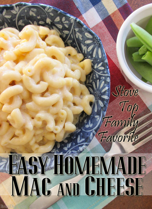 Easy homemade mac and cheese recipe without processed ingredients that appeals to the the box mix lover from BrenDid.com. Stove top no bake recipe.