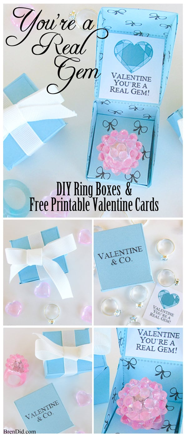 "Let your Valentine know they are ""A Real Gem"" with a sweet DIY Gift Box and Free Printable Valentine Cards. These Tiffany & Co. inspired Valentine's hold a precious trinket of your choice and are a great substitute for candy. Get the full details at BrenDid.com"
