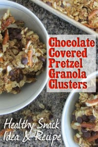 Chocolate Covered Pretzel Granola Clusters: this granola recipe has enough sweetness to please kids, but is packed full of healthy ingredients such as whole oats, wheat germ, flax seed and coconut oil. It's an easy recipe that makes a great snack for kids and adults. One serving contains 268 calories, 4.3 g fiber and 6.2 g protein. BrenDid.com