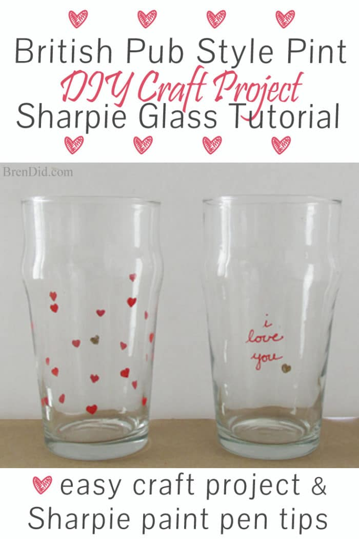 DIY Craft Project: Sharpie Marker Pint Glass Tutorial - Custom stamped English style beer pint glasses for only $1.25 each. Plus a DIY mini eraser stamp tutorial! Uses oil based Sharpie paint pens that are baked on. Valentine Gift Idea for Men