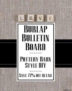 Scrabble burlap bulletin board spells LOVE