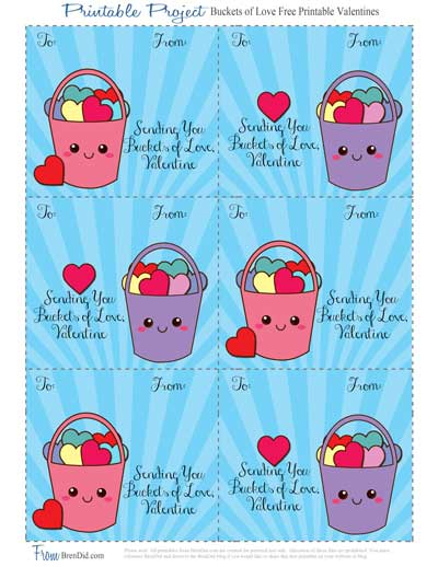 photo relating to Play Doh Valentine Printable known as Buckets of Take pleasure in Totally free Printable Valentine Playing cards and Handmade