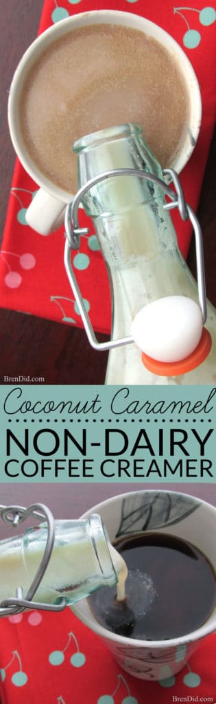 Easy Homemade Coffee Creamer recipe makes delicious non-dairy creamer with no artificial ingredients. It tastes like coconut caramel Girl Scout cookie and it is better for your health.