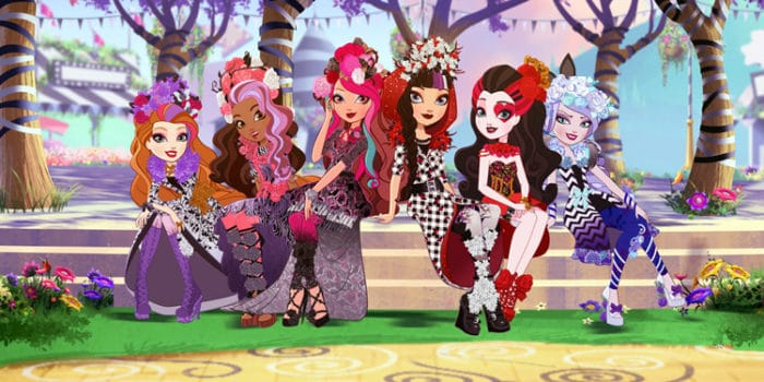 ever after high character in spring dresses
