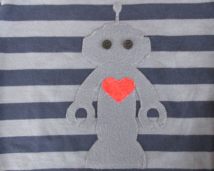 picture regarding T Shirt Pattern Printable called Robotic Applique T-blouse Routine Cost-free Printable Valentine