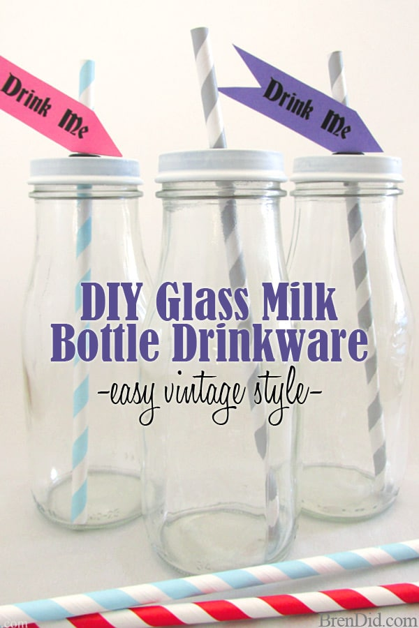 Love the vintage milk bottle look? Learn to make your own upcycled DIY Glass Milk Bottle Drinkware for a fraction of the retail price.