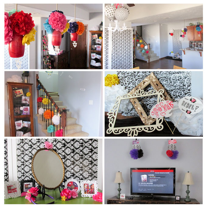 ever after high party decorations with pom pom flowers