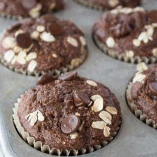 Close up of chocolate muffin