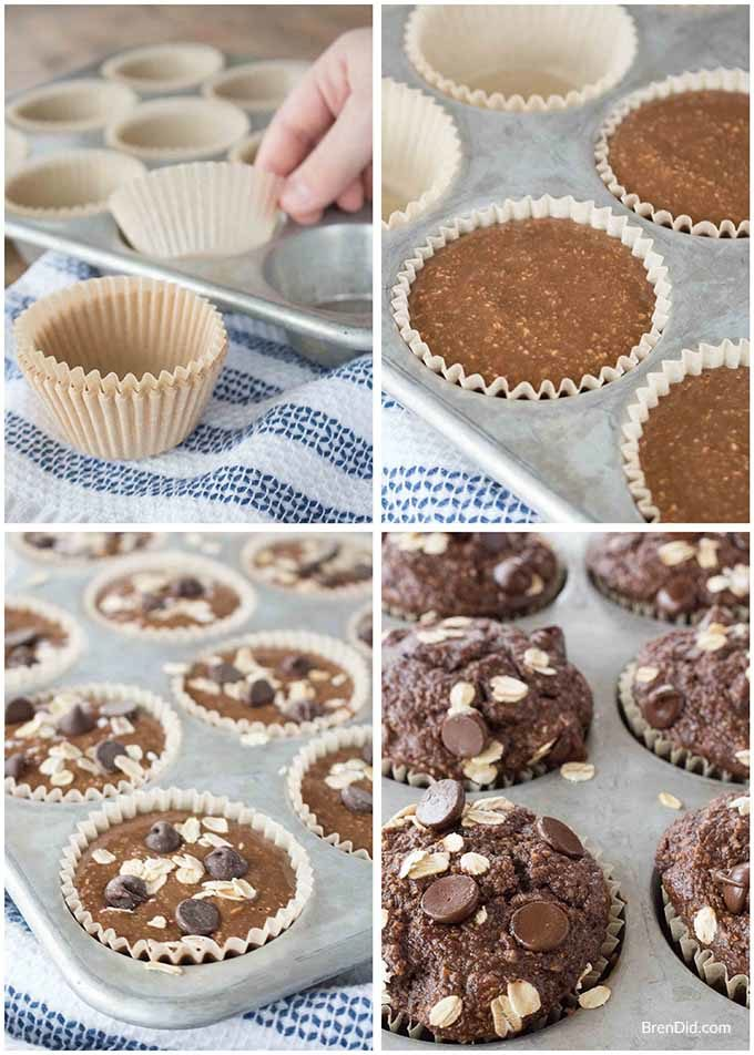 chocolate muffins collage