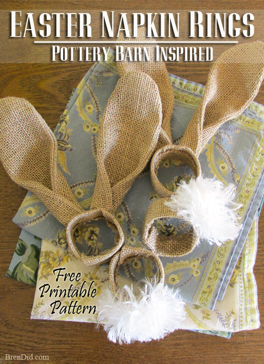 Theses adorable PB Inspired Easter Bunny Napkin Rings add character to any table this spring. They are made of burlap, cardboard and only cost $0.40 each to make. I hope you trying making this easy Easter DIY project and add some whimsy to your Easter décor.