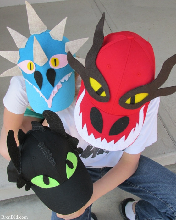 How to train your dragon easy baseball hats with free printable this easy dragon costume hat diy makes how to train your dragon characters from caps ccuart Choice Image
