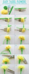 easy tassel flower step by step collage