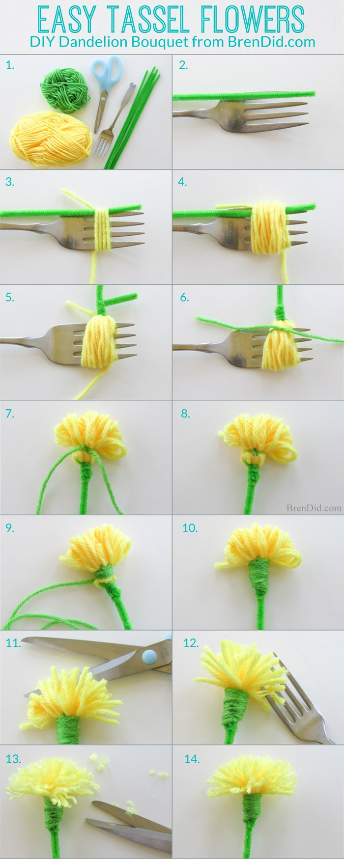 How to make tassel flowers - Make an easy DIY dandelion bouquest with yarn and pipe cleaners to delight someone you love. Perfect for weddings, parties and Mother's Day.