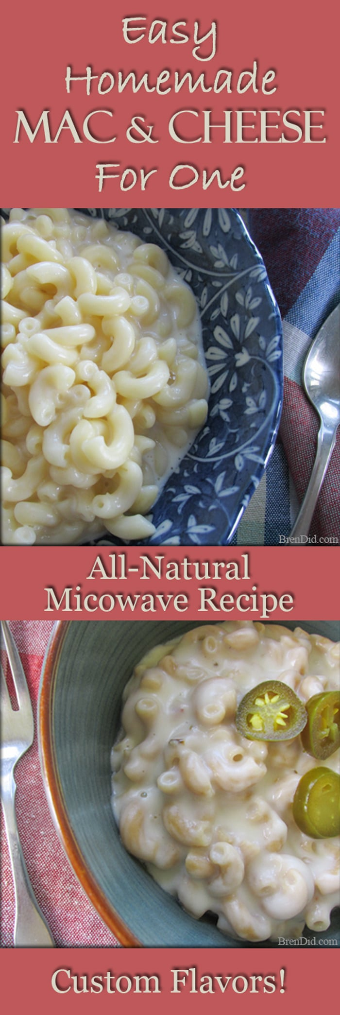 Easy Homemade Mac and Cheese for One: all-natural recipe uses simple ingredients to make healthy macaroni and cheese for one.