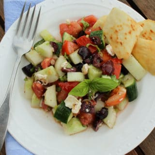 Greek Salad Recipe with Fresh Green Tomatoes