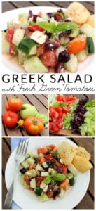 Greek Salad Recipe with Fresh Green Tomatoes Stop wasting under ripe green tomatoes. It is easy to whip up a Greek salad that uses all the beautiful summer produce including green tomatoes.