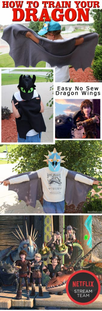 Easy DIY no sew dragon wings costume, also make great bat wings. Perfect for storybook character day or a how to train your dragon costume. No sew Halloween costume. Easy dragon costume. #dragonwings #nosew #costume #Halloween #brendid
