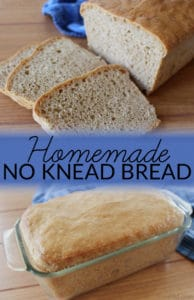 Homemade No Knead Bread requires neither time nor expertise! Simply stir together the ingredients, let the yeast work, and enjoy the delicious results.